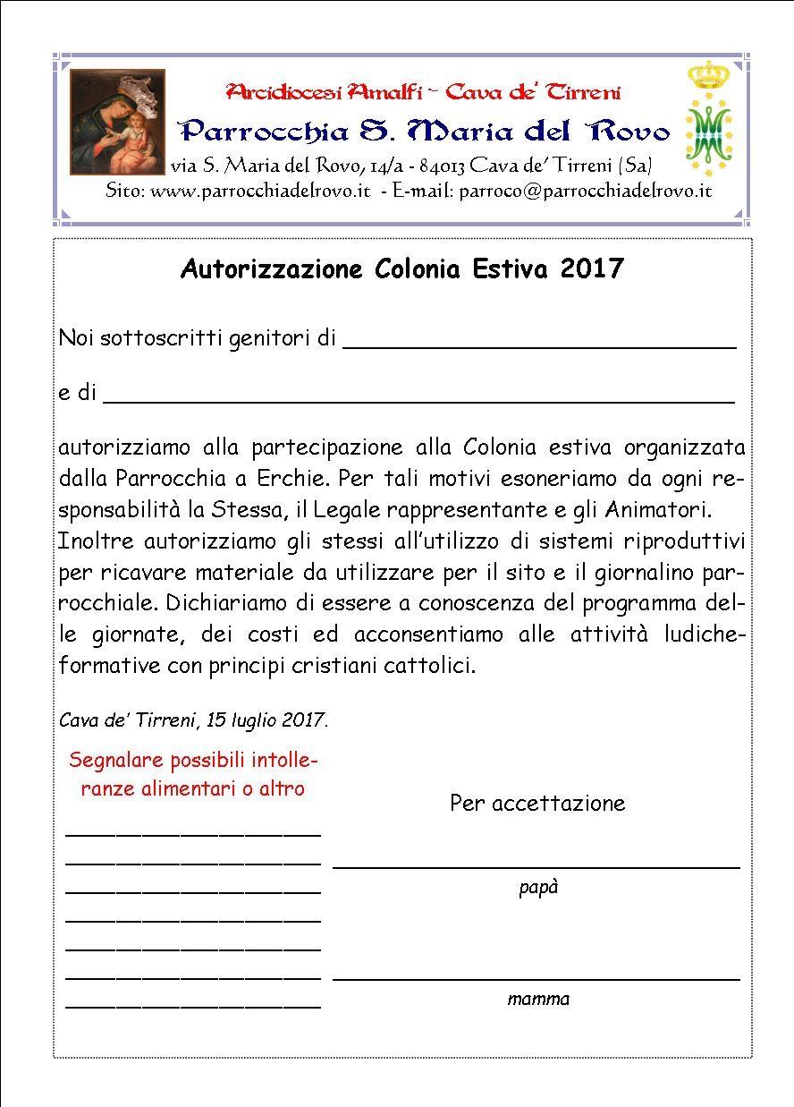 Autorizzazione Colonia2017
